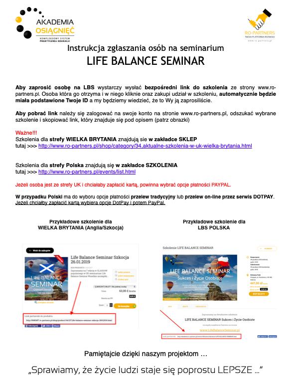 Instrukcja jak zgłaszać osoby na Life Balance Seminar